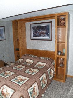 Oak Full Sized Murphy Bed Open