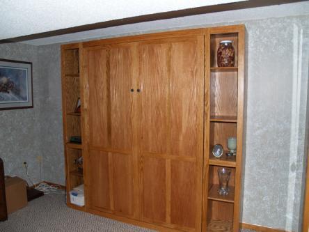 Oak Full Sized Murphy Bed Closed