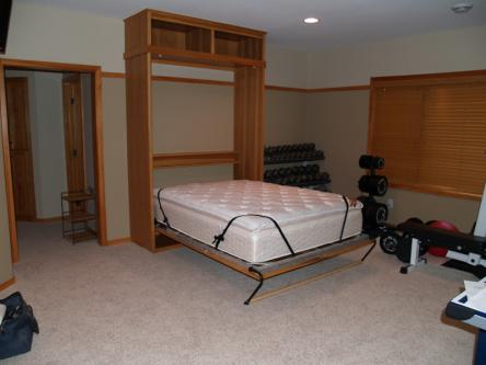 Hickory Queen Sized Murphy Bed Open