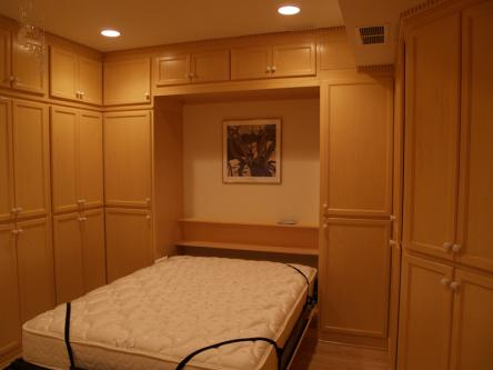 Birch Queen Sized Murphy Bed Open