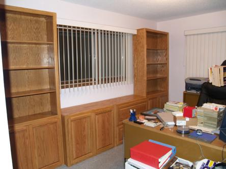 Oak Bookshelves, Lateral File and 2-Door Cabinet