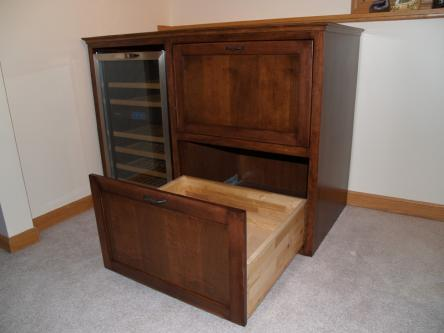 Maple Bar Cabinet w/Built-in Wine Fridge Open