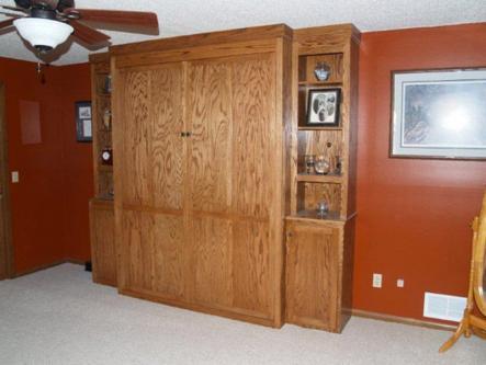 Oak Queen Sized Murphy Bed Closed