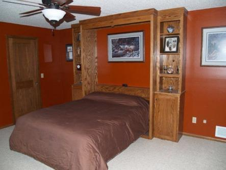 Oak Queen Sized Murphy Bed Open