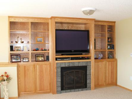 Oak Entertain Center w/ Gas Fireplace