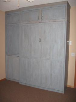 Oak (blue milk paint) Queen Sized Murphy Bed Closed