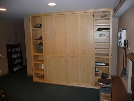Maple Full Sized Murphy Bed Closed