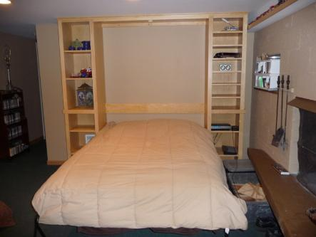 Maple Full Sized Murphy Bed Open
