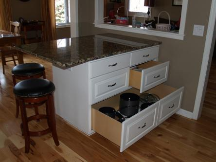 White Island with Large Drawers Open