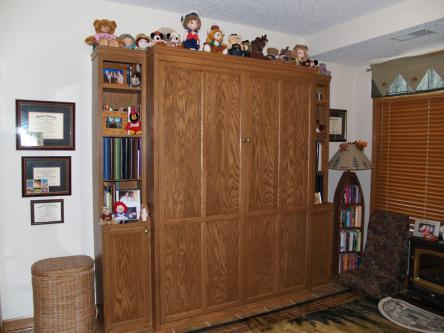 Oak Queen Sized Murphy Bed Closed